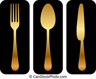 cutlery icon on black background - Vector gold cutlery icon...