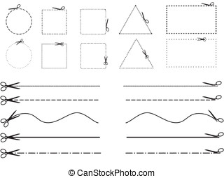 Scissors cutting shapes and lines - Set of scissors cutting...