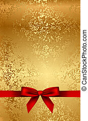 Vector gold texture with red bow
