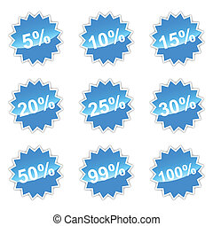 Set with percent - Blue set of icons with percent for your...