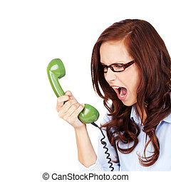 Young woman yelling at a telephone - Young woman wearing...