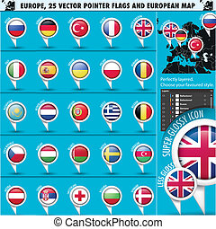 European Icons Round Indicator Flags and Map Set1. EU Europe...