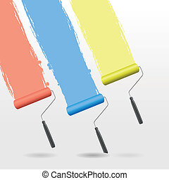 paint roller background - a set of three paint rollers...