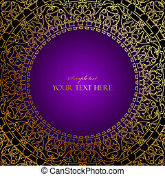 purple frame with gold ornament