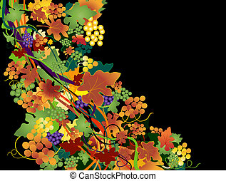 autumnal background with grapes - vector autumnal background...