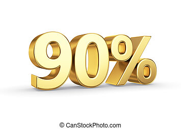 golden 90 percent isolated - golden 3D percentage icon -...