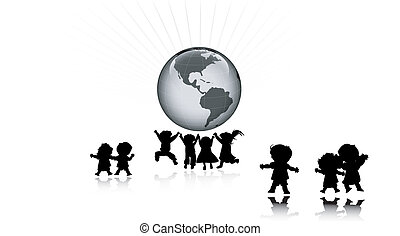 friends and planet earth  - friends and planet earth, vector