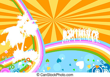 silhouettes dancing - summer background with silhouettes...