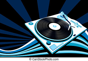 turntable  - abstract design with turntable, vector