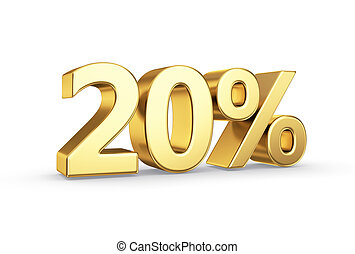 golden 3D percentage icon - isolated with clipping path