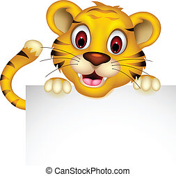 cute baby tiger posing with sign