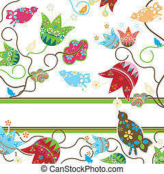 flowers and birds - whimsy flowers and birds