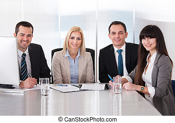 Portrait Of Business Team - Happy Business Team In Office At...