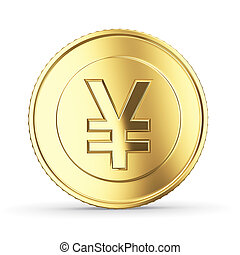 Golden yen coin on white isolated with clipping path