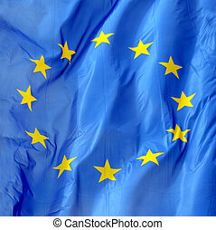 Flag Of Europe - A Close Up Of A Flag Of Europe In The Wind