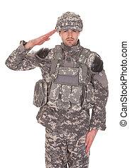 retrato, de, hombre, en, militar, uniforme, saludar