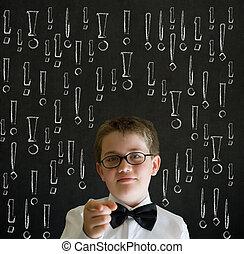 Education thinking boy exclamation