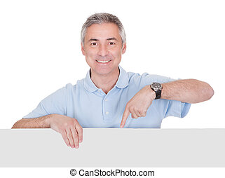 Man Presenting Blank Placard Over White Background
