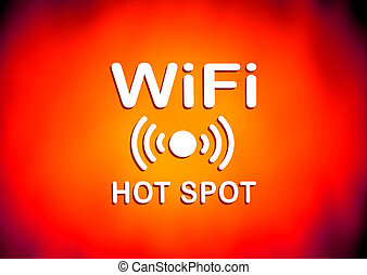 WiFi hotspot sign - Orange and red WiFi hotspot sign