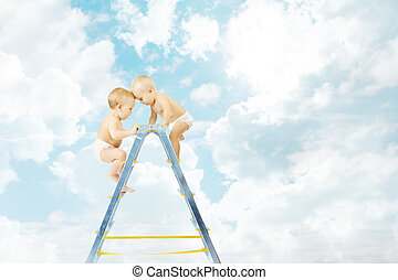 Baby climbing on stepladder and fighting  for first place