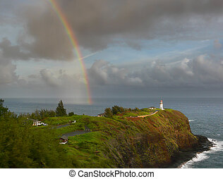 Rainbow over Kilauea lighthouse - Nice rainbow over Kilauea...
