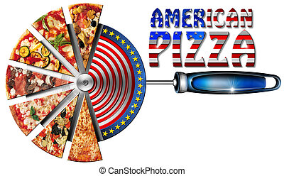 American Pizza on Cutter for Pizza - Pizza slices on the...