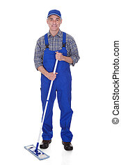 Mature Man Cleaning Floor With Mop Over White Background