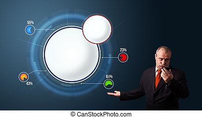 crazy businessman in suit holding a phone and presenting abstract modern pie chart with copy space