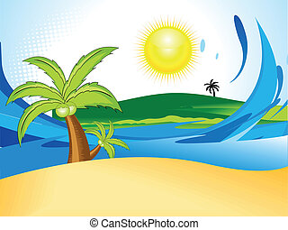 abstract summer background with coconut tree vector...