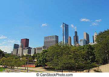 Skyscrapers in downtown Chicago, Illinois - Skyscrapers line...
