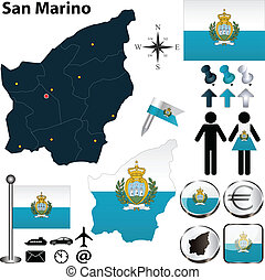 Map of San Marino - Vector of San Marino set with detailed...