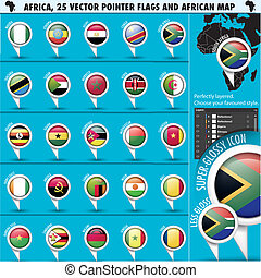 Africa Pointer Flag Icons with african Map set1