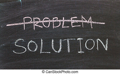 Problems Solutions handwritten with white chalk on a...