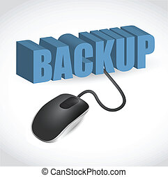 mouse is connected to the blue word BACKUP