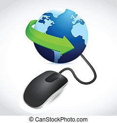 computer mouse connected to a blue globe - modern black...