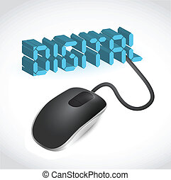 mouse connected to the blue word Digital