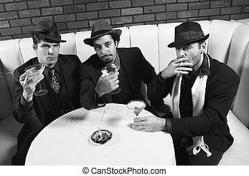 Three retro gangsters - Three Caucasian prime adult males in...