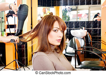 satisfied customer in a hair salon - A satisfied female...