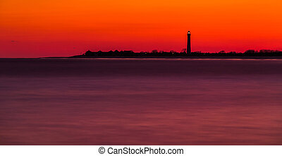 Long exposure of the Cape May Point Lighthouse after sunset,...