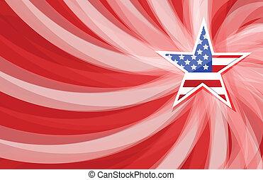 Us star flag illustration design over a red wave background