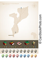 Mozambique - Republic of Mozambique and Africa maps, plus...