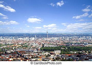 -, ベルリン, 航空写真, 光景
