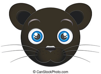 Panther cub face isolated on white background