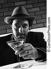 Retro businessman with martini. - Caucasian prime adult male...
