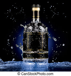 High grade freshness. - A photo of luxury alcohol bottle in...