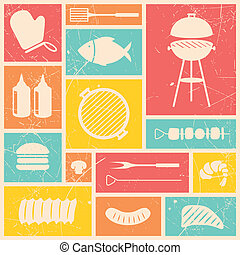 Vector Grill Icons - Vector Illustration of Barbecue Grill...