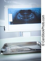 X-ray teeth for check in dentist room