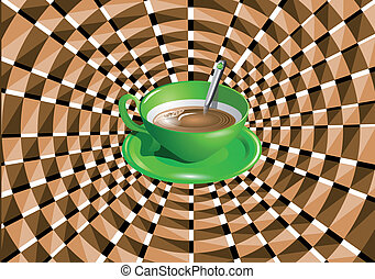 optical illusion with a green cup with a drink