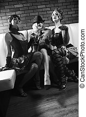 Three retro women - Three retro prime adult Caucasian...