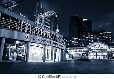 The USS Constellation Museum and Pratt Street Pavilion...